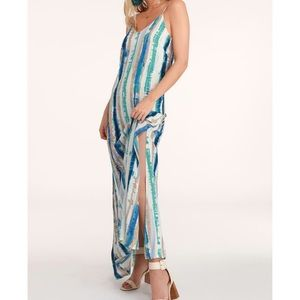 Lulu's Bay Side Babe Blue and Cream Maxi Dress